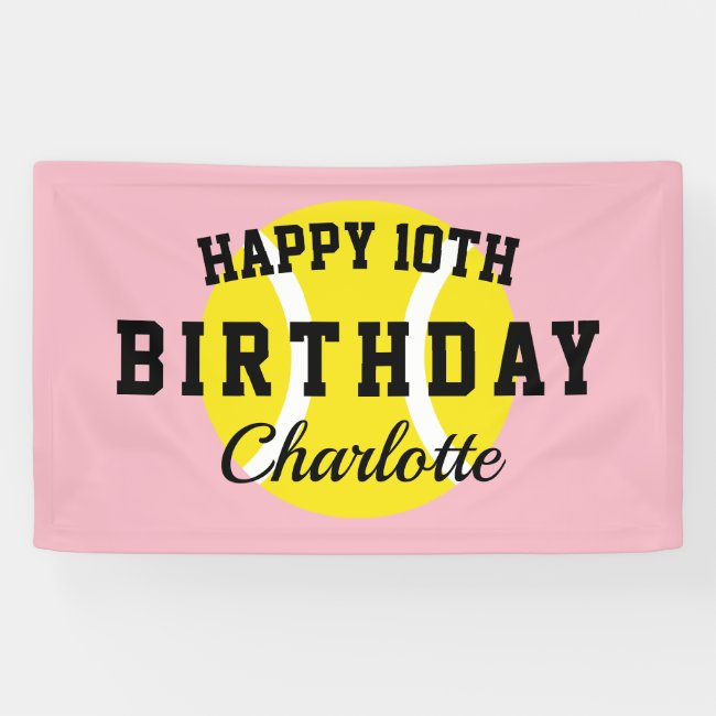 Custom tennis theme Happy Birthday party banner