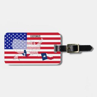 Custom Texas State USA Flag Map Luggage tag