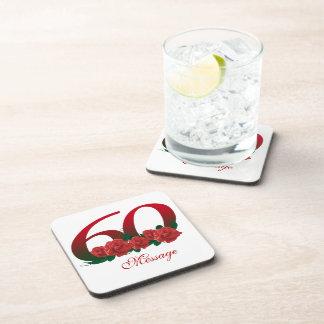 Custom text 60th drink coaster