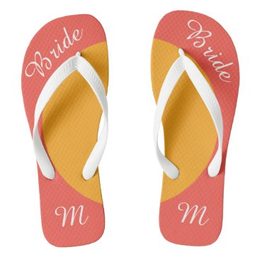 Bride Themed Custom Text and Monogram Pink and Yellow Flip Flop