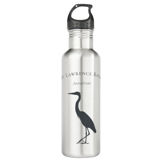 custom text and name Great Blue Heron silhouette Stainless Steel Water Bottle