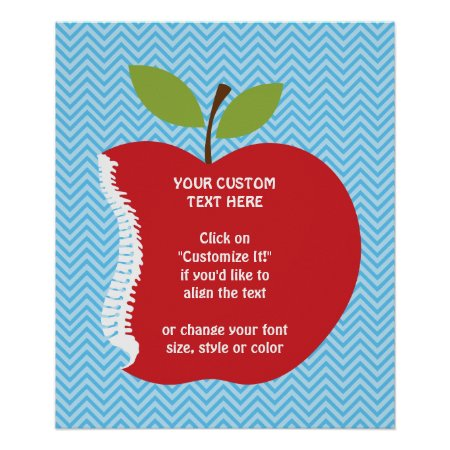 Custom Text Apple Spine Chiropractic Poster 20x24