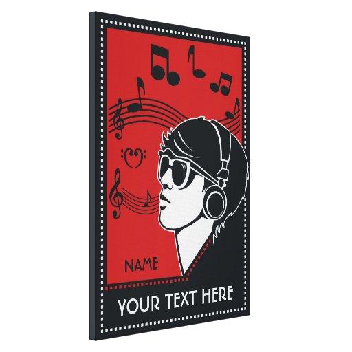 Custom Text Art Deco Music Canvas Print Zazzle
