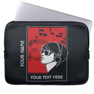 Custom Text Art Deco Music laptop sleeves