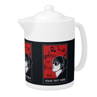 Custom Text Art Deco Music teapot