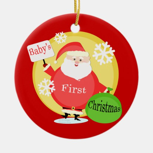 Custom Text Baby's First Christmas Ornament | Zazzle