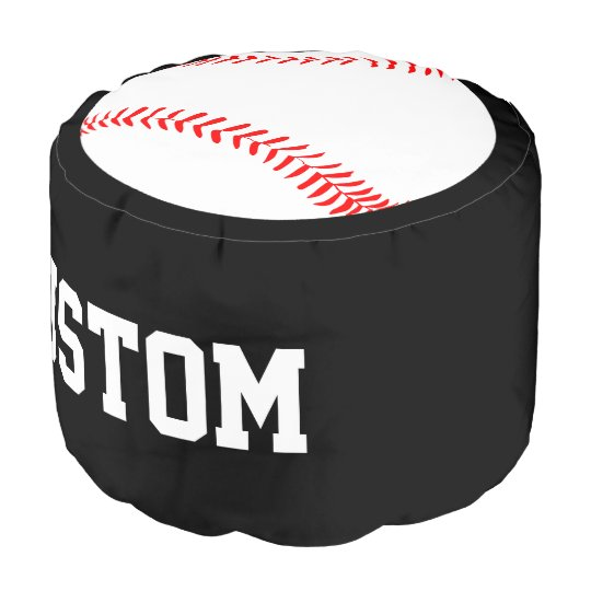 Remarkable Custom Text Baseball Player Round Pouf Beanbag Alphanode Cool Chair Designs And Ideas Alphanodeonline