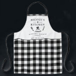 "Custom Text, Black and White Buffalo Plaid Kitchen Apron<br><div class=""desc"">Make you own this beautiful black and white checkered pattern apron,  with ability to customize all four text areas with your own message! Design with beautiful area for your text,  enhanced with spatula,  mixing bowls,  fork and whisk details. Unique great gift idea!</div>"