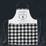 """Custom Text, Black and White Buffalo Plaid Kitchen Apron<br><div class=""""desc"""">Make you own this beautiful black and white checkered pattern apron,  with ability to customize all four text areas with your own message! Design with beautiful area for your text,  enhanced with spatula,  mixing bowls,  fork and whisk details. Unique great gift idea!</div>"""