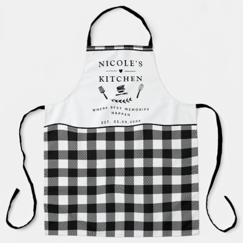 Custom Text Black and White Buffalo Plaid Kitchen Apron