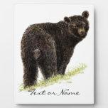 Custom Text  Black Bear  Animal Nature Plaques