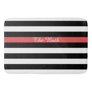 Custom Text Black Red and White Striped Bathroom Mat