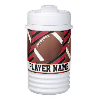 Custom Text Black & Red Striped Football Water Jug Cooler