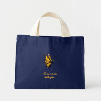 Custom Text Cartoon Yellow Butterfly Canvas Tote