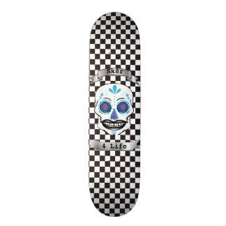 Custom Text Checkered Blue Candy Skull Deck