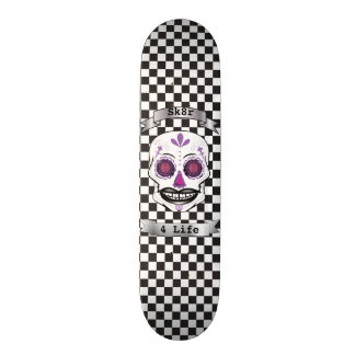 Custom Text Checkered Purple Candy Skull Deck