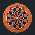 """Custom Text Chicago Illinois Sports Orange Blue Dart Board<br><div class=""""desc"""">Add your own text on the top and bottom (default """"your custom text here"""" and """"go sports!"""") to this orange dartboard with navy blue,  orange and white dartboard pattern design.  Great for sports fans in Chicago,  Illinois.</div>"""