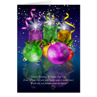 Custom Text Christmas Card With Baubles And Candle
