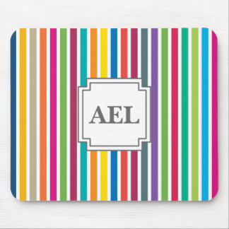 Custom Text - Colorful Candy Stripes Mouse Pad