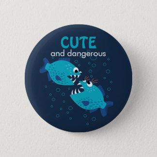 Custom Text Cute And Dangerous Piranha Fish Pinback Button