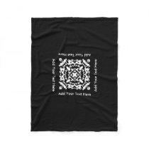 Custom Text Decorative Black and White Motif Fleece Blanket