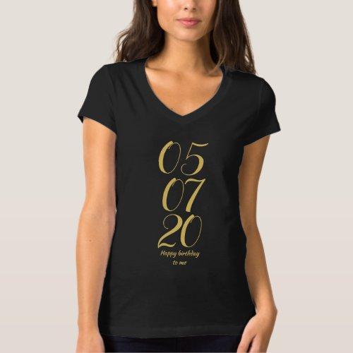 Custom text Elegant Gold Happy birthday T_Shirt