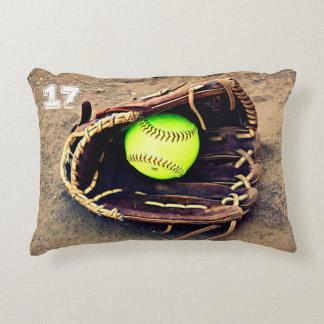 Custom Text Fastpitch Softball Accent Pillow