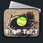 "Custom Text Fastpitch Softball Laptop Sleeve<br><div class=""desc"">The Custom Text Fastpitch Softball Laptop Sleeve: Type any text (letters and/or numbers) in the text box to create your own personalized softball sleeve. Makes a cool gift for softball players,  coaches and fans.</div>"