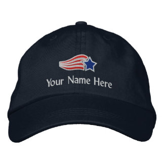Custom Text Flying Star Logo Embroidered Hat