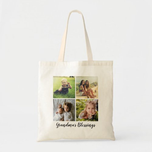 Custom Text Four Photo Collage Tote Bag