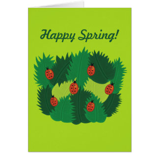 Custom Text Green Leaves And Ladybugs Happy Spring Card