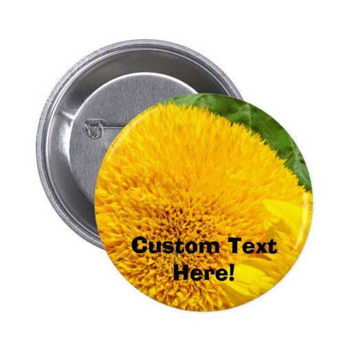 Custom Text Here Sunflower Yellow Floral Button