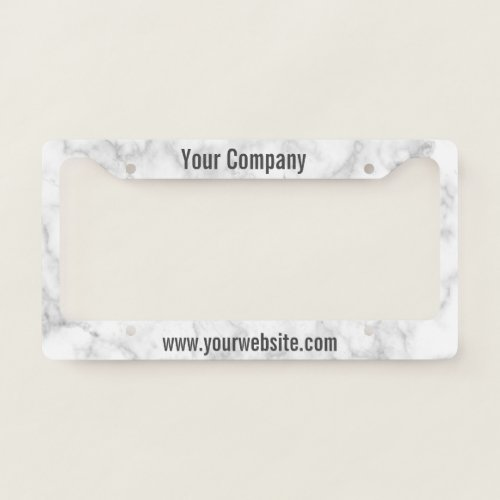 Custom Text Marble Look Company Mobile Ad License Plate Frame