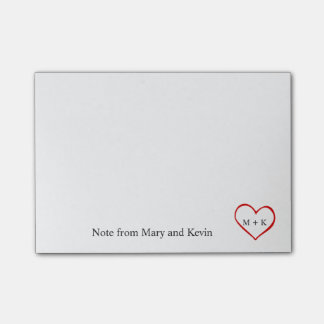 Custom Text Monogram Red Heart for Wedding Couple Post-it Notes