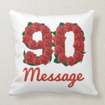 Custom text name 90th birthday number throw pillow
