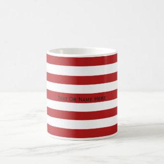 Custom Text Name Cornell Red & White Stripes Coffee Mug