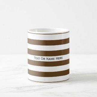Custom Text Name  Dark Brown & White Stripes Classic White Coffee Mug