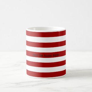 Custom Text Name Dark  Red & White Stripes Coffee Mug
