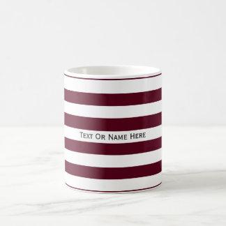 Custom Text Name Dark Scarlet Red & White Stripes. Classic White Coffee Mug