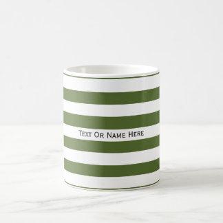 Custom Text Name Olive Green & White Stripes  . Coffee Mug