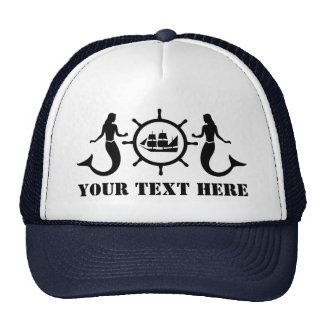 Custom Text Nautic Mermaids Ship Trucker Hat