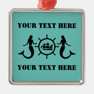 Custom Text Nautical Mermaids Metal Ornament