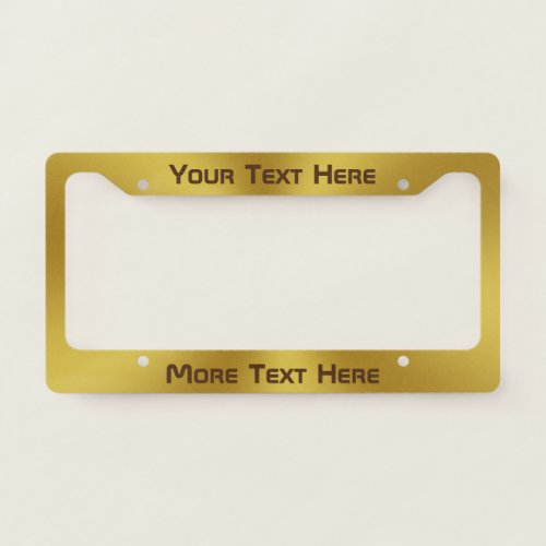 Custom Text on Brushed Gold Look License Plate Frame