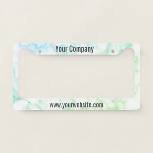 Custom Text on Faux Green Marble License Plate Frame