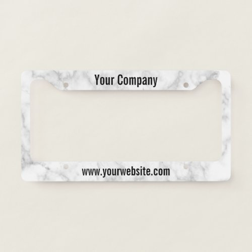Custom Text on Faux White Marble Advertisement License Plate Frame