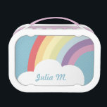 """Custom Text on Rainbow (&amp; Cloud!) Blue Lunch Box<br><div class=""""desc"""">A cute customizable lunchbox featuring a rainbow and a cloud on top of a blue polka-dotted background.</div>"""