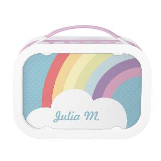 Custom Text On Rainbow (& Cloud!) Blue Lunch Box at Zazzle