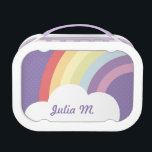 """Custom Text on Rainbow (&amp; Cloud!) Purple Lunch Box<br><div class=""""desc"""">A cute customizable lunchbox featuring a rainbow and a cloud on top of a purple polka-dotted background.</div>"""