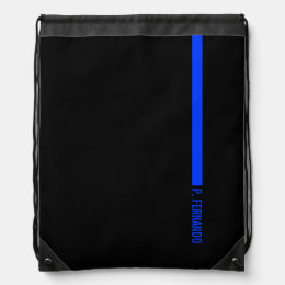 Custom Text on The Thin Blue Line Police Drawstring Backpack
