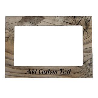 Custom Text On Wood Look Magnetic Photo Frame